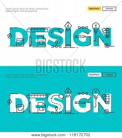Modern Flat line design concept of Design and Design Process. Flat line design for Website Element ,