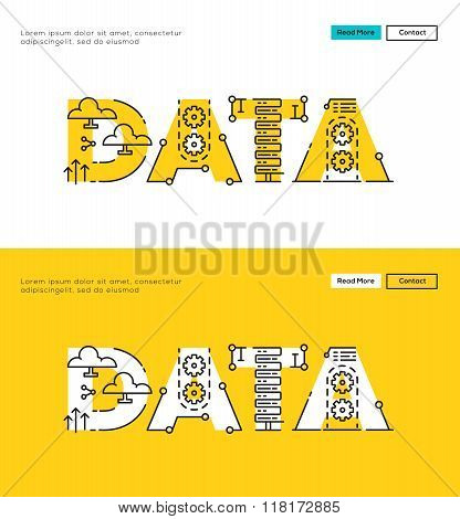 Modern Flat line design concept of Database and Online Data. Flat line design for Website Element ,W