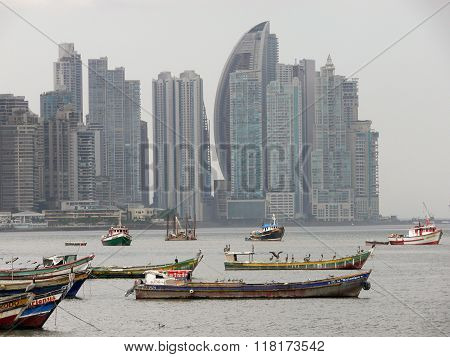 Fishing In Front Of Panama Skyscrapers