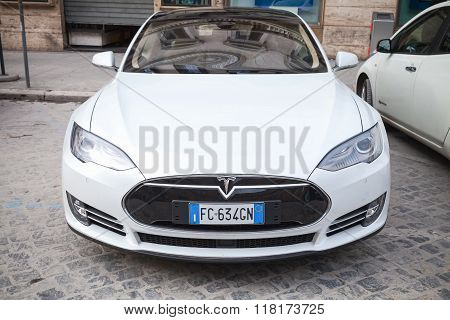 White Tesla Model S On Roadside, Front View, Close-up