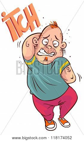 Vector Illustration Of A  Cartoon Man Scratching All Over