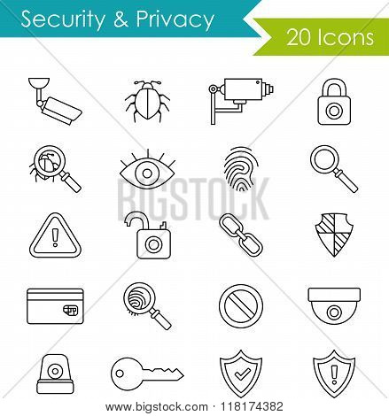 Security and privacy icons set