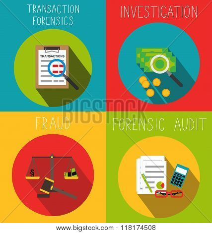 Forensic analytics flat icons