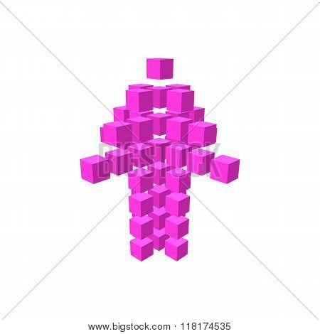 Purple arrow made of squares