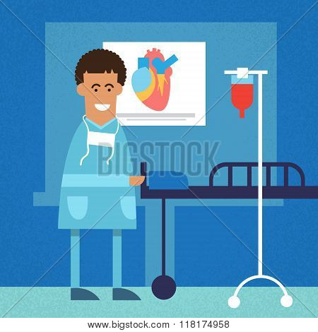 African American Doctor In Operating Surgery Room Heart