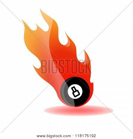 Vector Illustration Of A Billiard Ball In Fire / 8 ball in fire flames