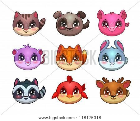 Funny cartoon little cute animals faces