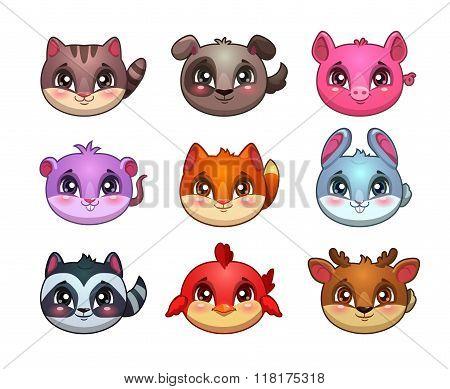 Funny cartoon little cute animals faces