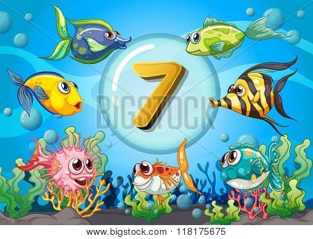 Flashcard number seven wit 7 fish underwater illustration