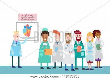 Medical Doctors Group People Intern Lecture Human Body Heart