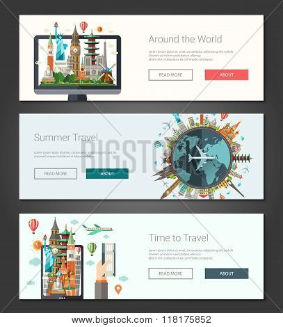 Flat design banners, headers set illustration with world famous landmarks