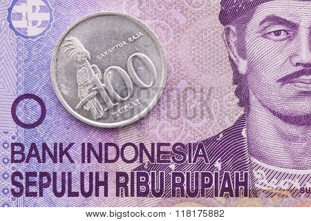 Indonesian Money Rupiah Banknote And Coins