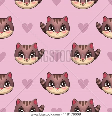 Seamless pattern with funny cat faces