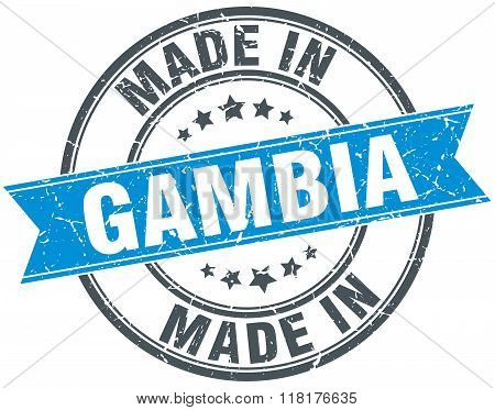 made in Gambia blue round vintage stamp