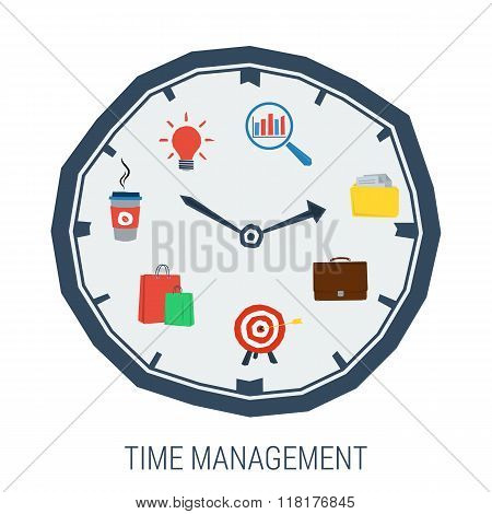 Clock With Elements Inside Concept Time Management
