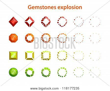 Cartoon colorful gemstones explosion frames