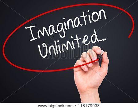 Man Hand Writing Imagination Unlimited