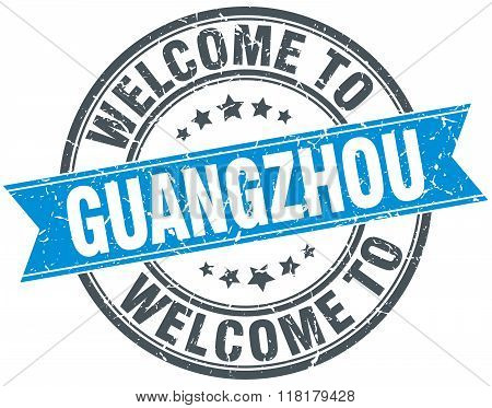 welcome to Guangzhou blue round vintage stamp