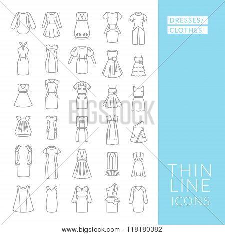 Dress. Thin Line Icons.