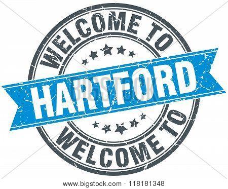 welcome to Hartford blue round vintage stamp