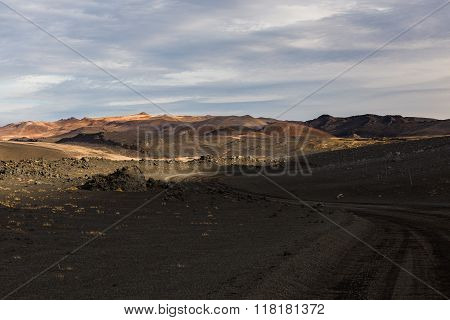 Wasteland In Iceland, Autumn Landscape, Myvatn