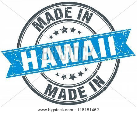 made in Hawaii blue round vintage stamp