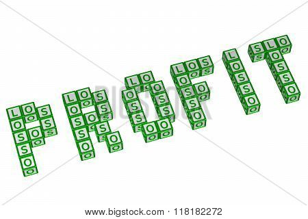 Word Profit Written With Blocks With Letters L, O,s