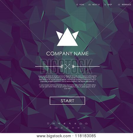 Website landing page template with set of line icons user interface and purple low poly background.