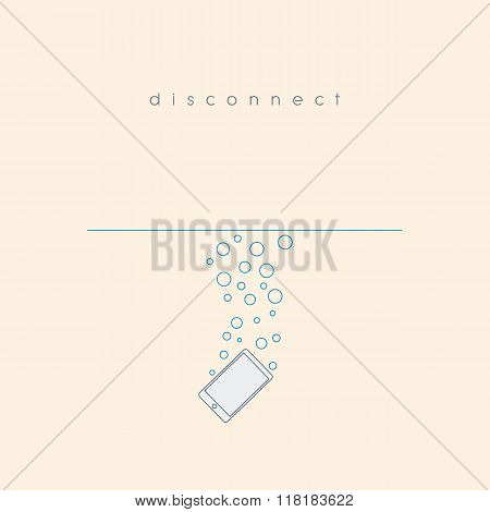 Smartphone sinking under water. Disconnected theme motivational poster. Waterproof technology.