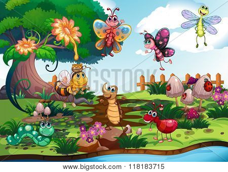 Butterflies and bugs in the garden illustration