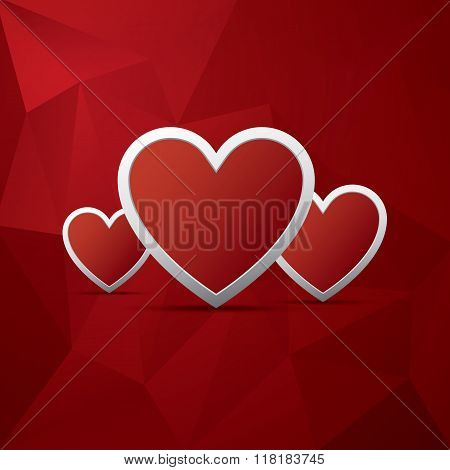 Red heart as symbol of love on low poly vector background. Valentine's day card template.