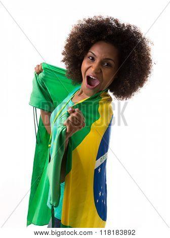 Brazilian woman holding the Brazilian flag on white background