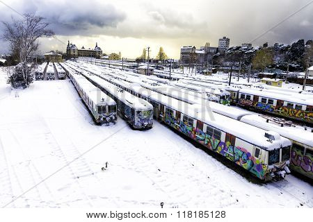 Winter Day Of Unused Old Trains On Disused Line