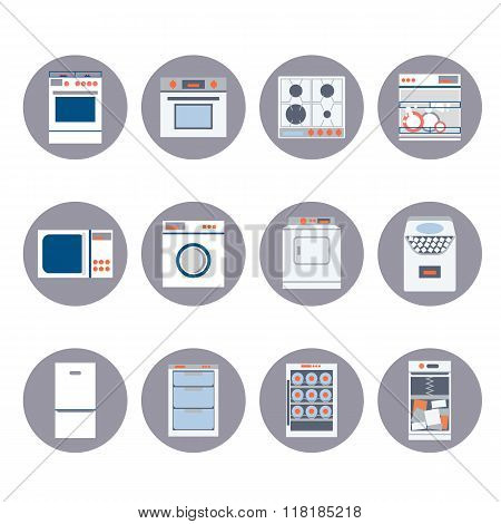 Flat design set icons of home appliances.
