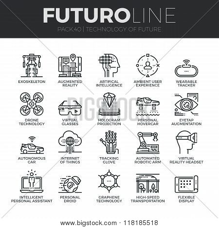 Future Technology Futuro Line Icons Set