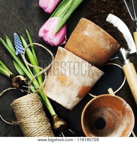 Garden tools on vintage background with space for text - Spring or Gardening Background