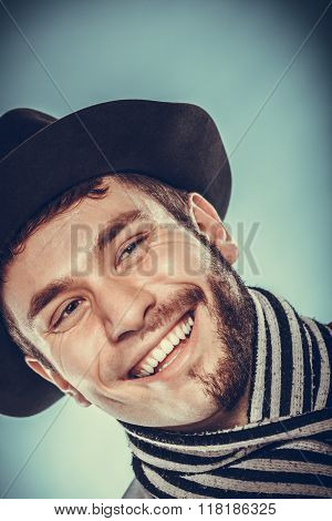 Happy Man With Half Shaved Face Beard Hair In Hat.