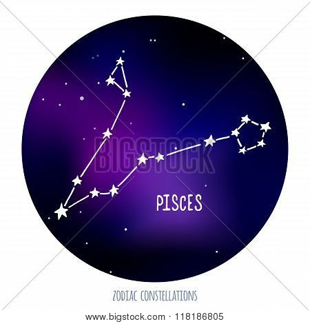 Pisces vector sign. Zodiacal constellation made of stars on space background.