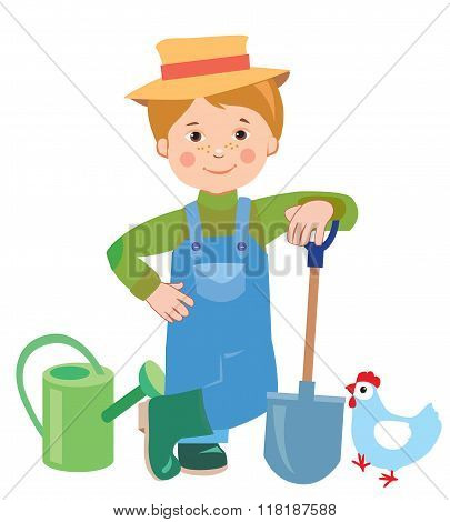 Cartoon young farmer. Watering can. Shovel. Farmer. Farmer works. Employee. Vector illustration on white background. A hen. Vector hat. Nature and the farmer. Farmer spring.