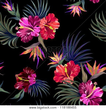 amazing tropical flowers patten. seamless design with gorgeus botanical elements, hibiscus, palm, bird of paradise. Vector editable file