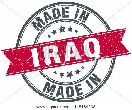 made in Iraq red round vintage stamp