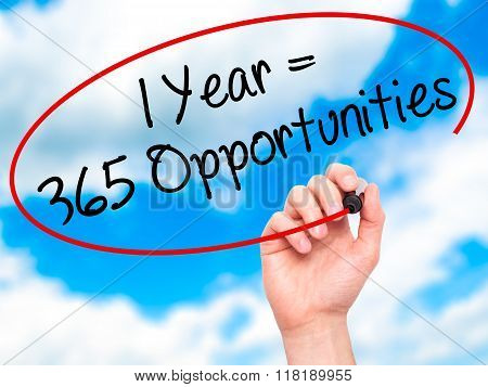 Man Hand Writing 1 Year = 365 Opportunities With Black Marker On Visual Screen