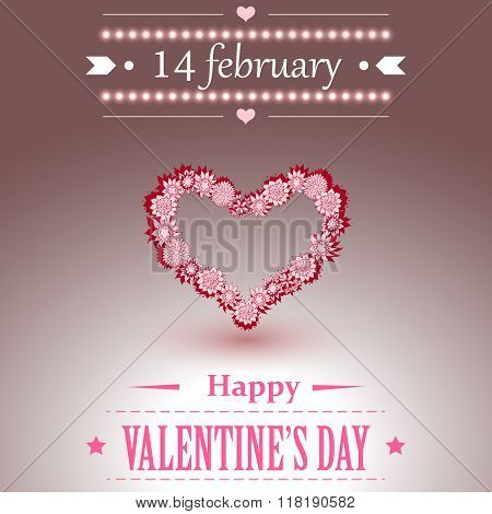 Happy Valentines Day lettering Greeting Card. Vector illustration