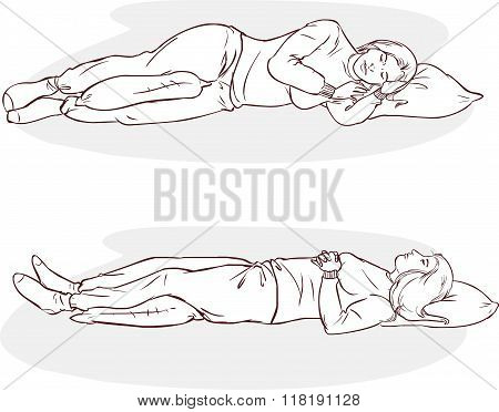 White Background Vector Illustration Of A Sleeping Positions