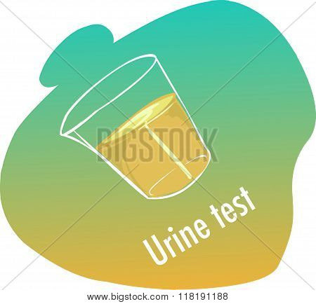 Green  Background Vector Illustration Of A Urine Test