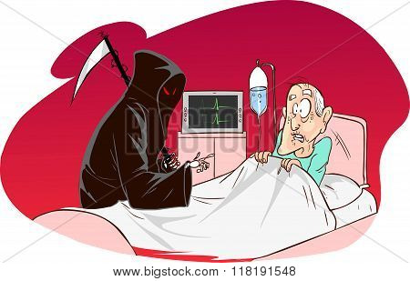 Red Background Vector Illustration Of A  Grim Reaper And Patient