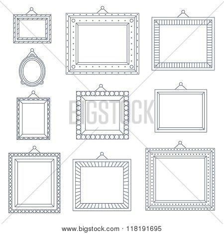 Line Art Frame Photo Picture Painting Decoration Drawing Symbol Template Icon Set on Stylish Black B