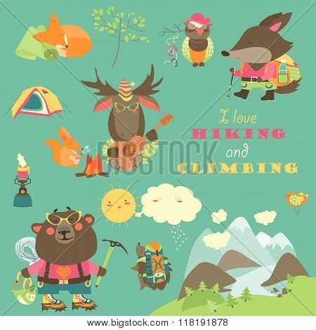 Set of cartoon characters and mountaineering elements