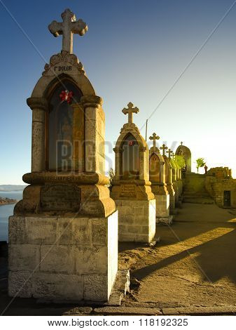 Crosses on the top of Calvary Hill at Titicaca Lake