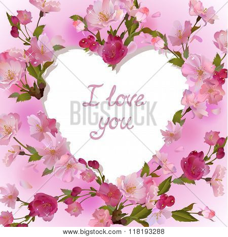 Heart in cherry flowers I love you